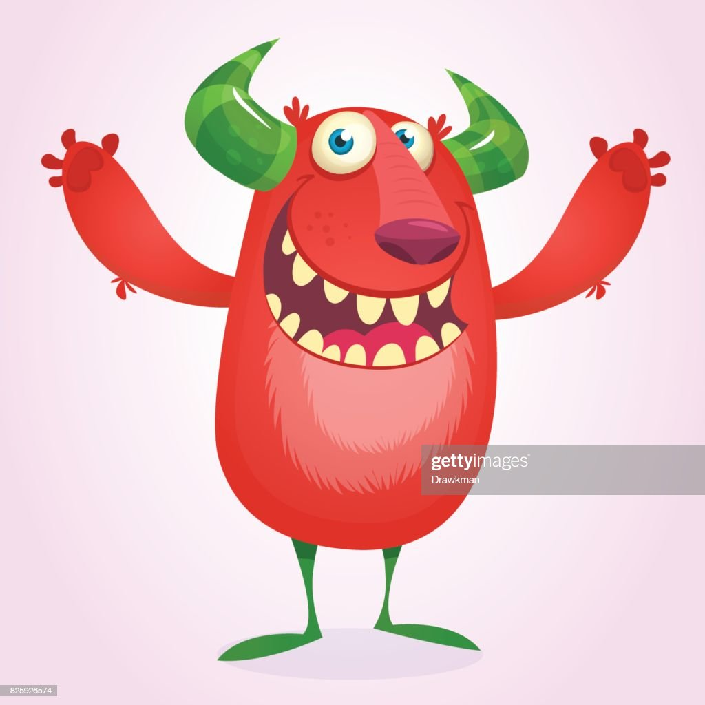 angry cartoon furry monster halloween vector red and horned monster