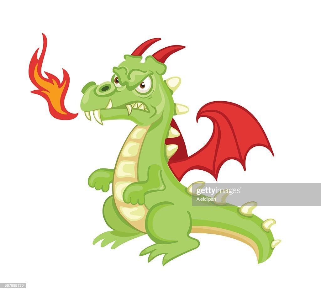 Angry cartoon green dragon.