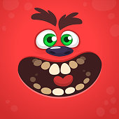 Angry cartoon monster face design. Vector Halloween red monster illustration