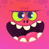 Angry cartoon monster face with big smile. Vector Halloween pink monster character