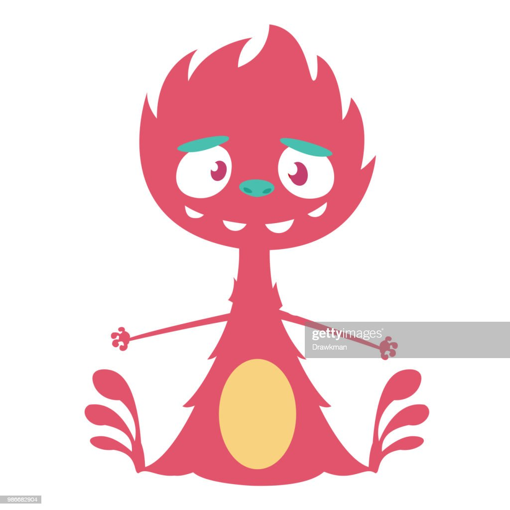 Angry cartoon one eyed dragon. Vector Halloween red monster illustration.