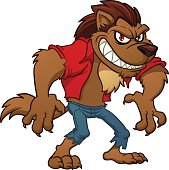 Angry cartoon werewolf figure in red shirt and blue pants
