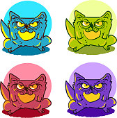 angry cat quad color tint cartoon style vector illustration