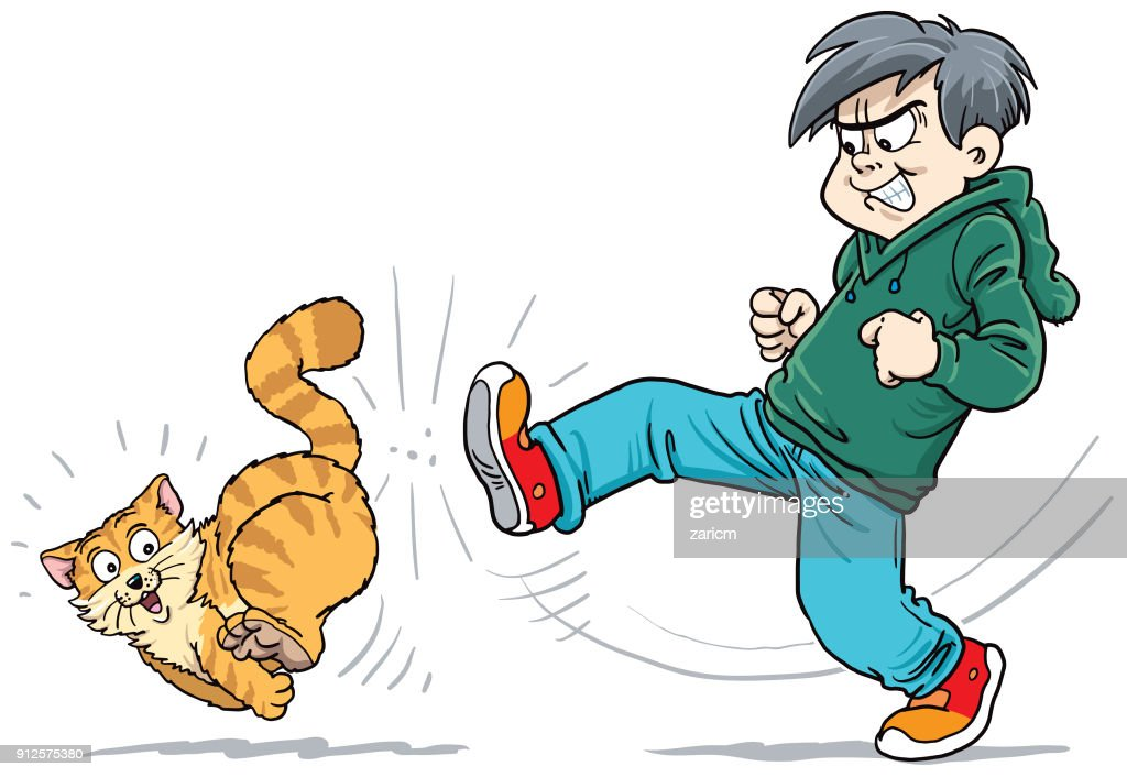 Informations diverses - Page 14 Angry-child-kicking-a-cat-vector-id912575380