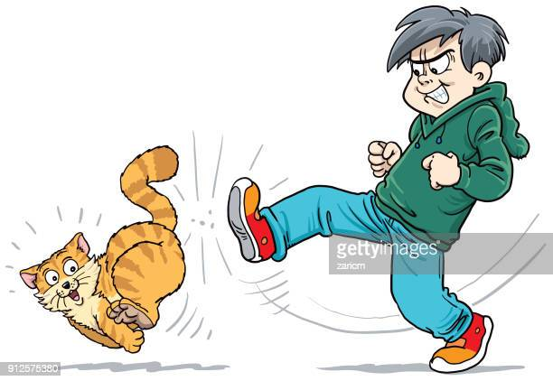 angry child kicking a cat - kicking stock illustrations