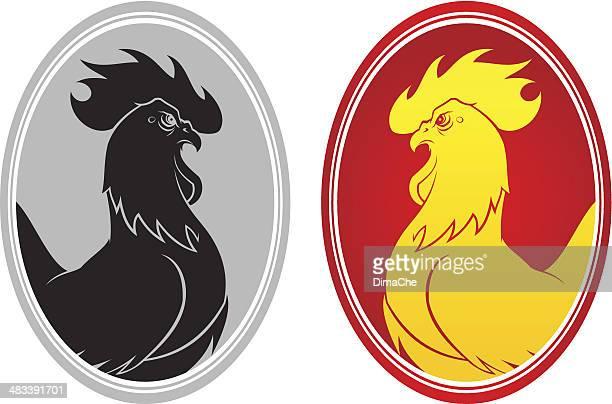 ilustrações, clipart, desenhos animados e ícones de angry leve emblema - cockerel
