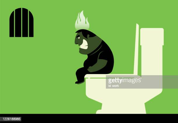 angry constipated man on fire - digestive stock illustrations