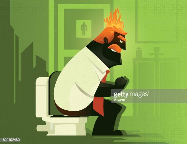 angry constipation man on fire - defecating stock illustrations, clip art, cartoons, & icons