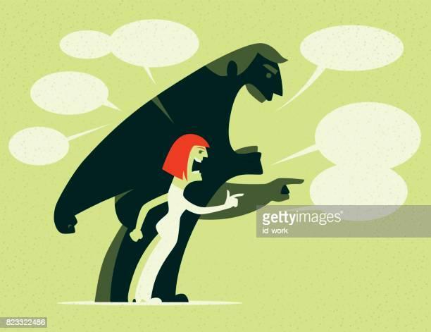 ilustraciones, imágenes clip art, dibujos animados e iconos de stock de enojado pareja señalar y culpar a - bullying
