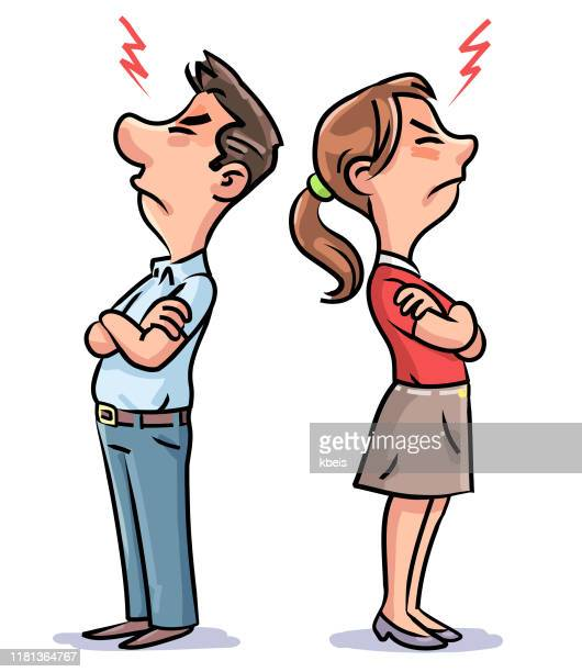angry couple standing back to back - stubborn stock illustrations