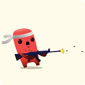 Angry Cute Character Firing A Machine Gun