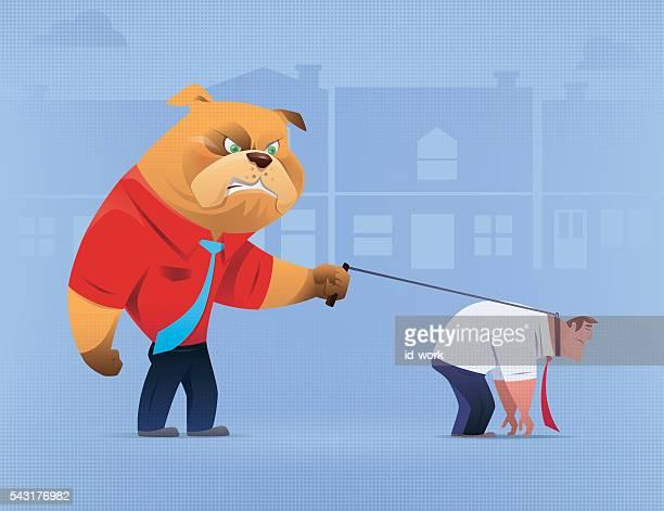 angry dog with sad businessman - dogs tug of war stock illustrations