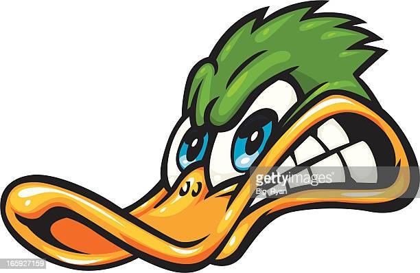 angry duck cartoon - duck stock illustrations, clip art, cartoons, & icons