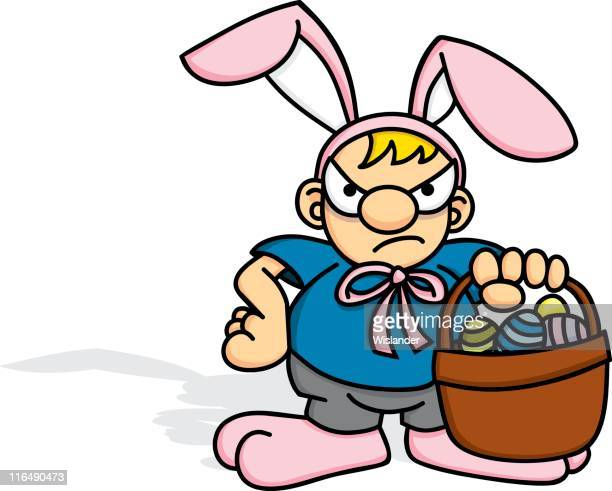 angry easter boy - easter bunny costume stock illustrations, clip art, cartoons, & icons