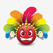 Angry emoticon wearing carnival headdress, emoji, smiley - vector illustration