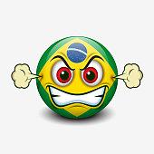 Angry emoticon with Brazil flag motive, emoji, smiley - vector illustration