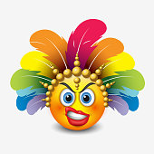 Angry emoticon with curled lips wearing carnival headdress, emoji, smiley - vector illustration
