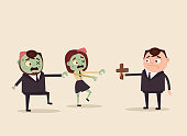 Angry evil hungry zombie office workers attack. Apocalypse concept