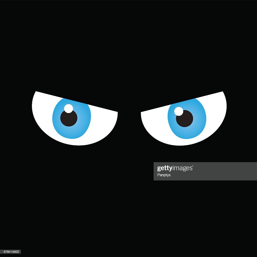 Angry eyes on dark background.