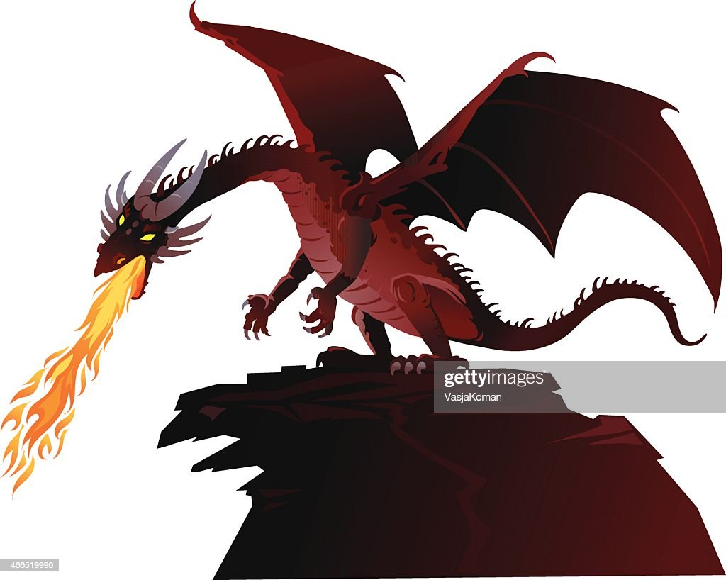 Angry Fairy Tale Dragon Breathing Fire