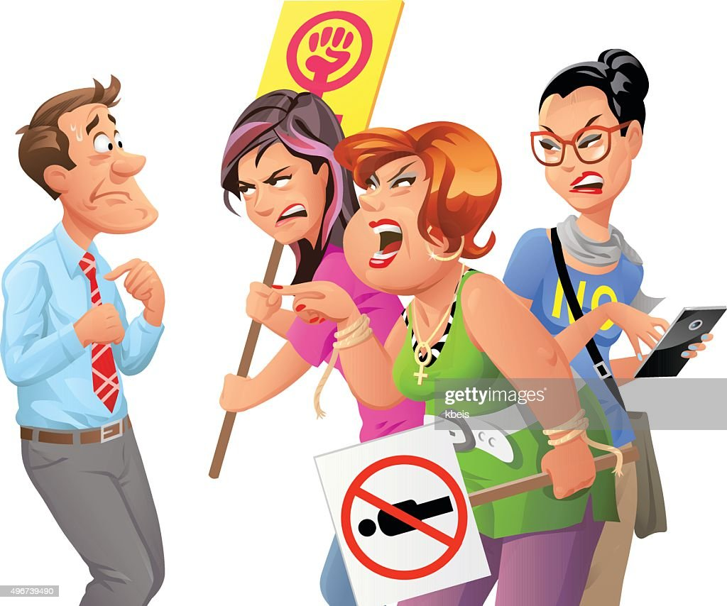 Angry Feminist Protesters Yelling At Man : stock illustration