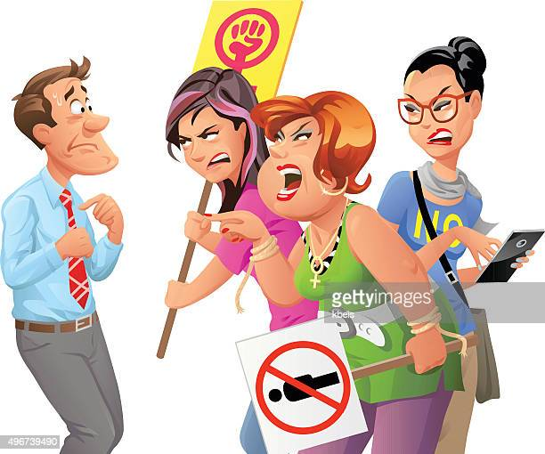 angry feminist protesters yelling at man - political rally stock illustrations, clip art, cartoons, & icons