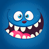 Angry funny cartoon monster face with a big mouth. Vector Halloween blue monster illustration