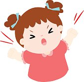 angry girl shout loudly on white background vector illustration