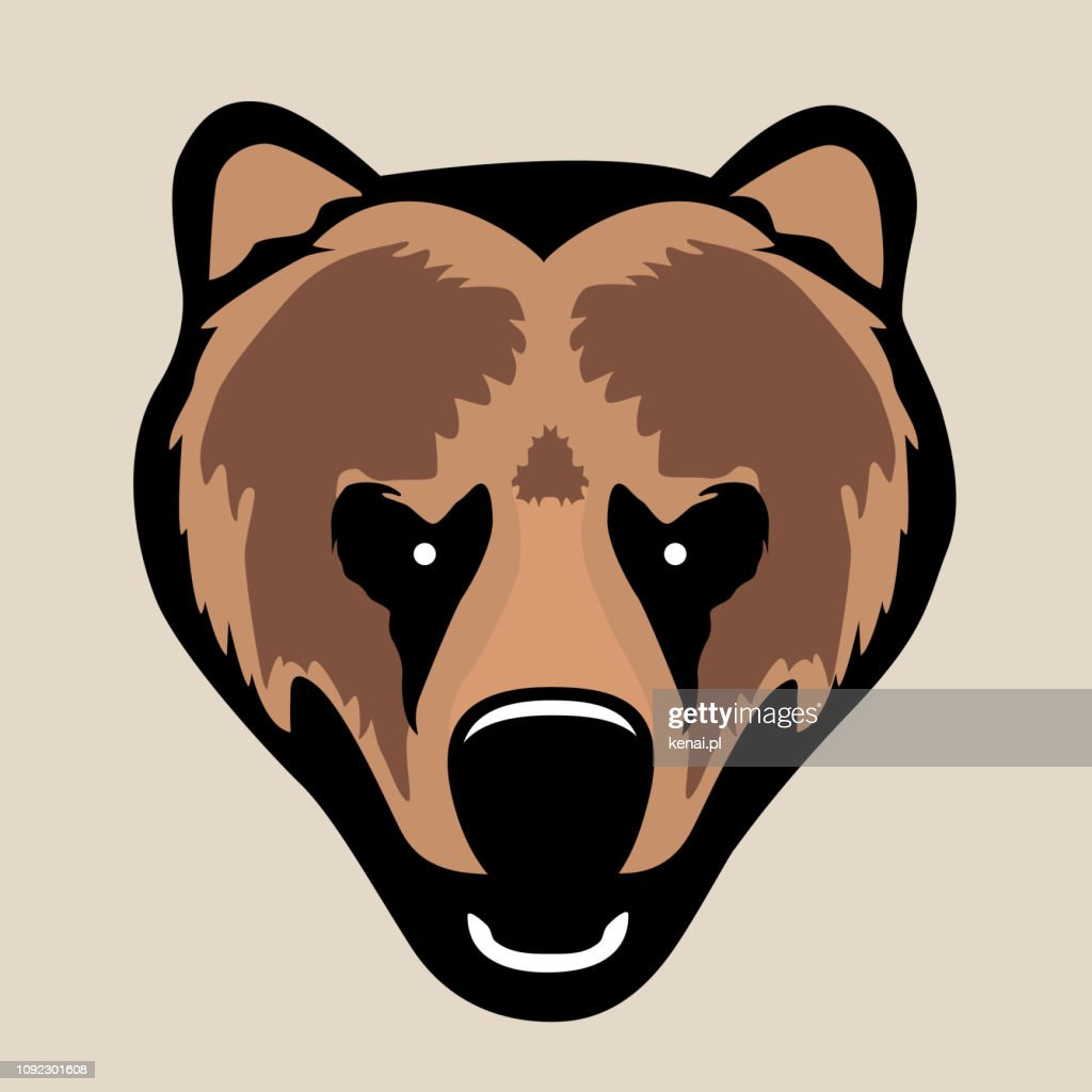 Angry grizzly bear head. Simple, ideal for t-shirt, print, logo or icon.