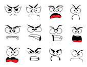 Angry human face icon of upset emoticon and emoji