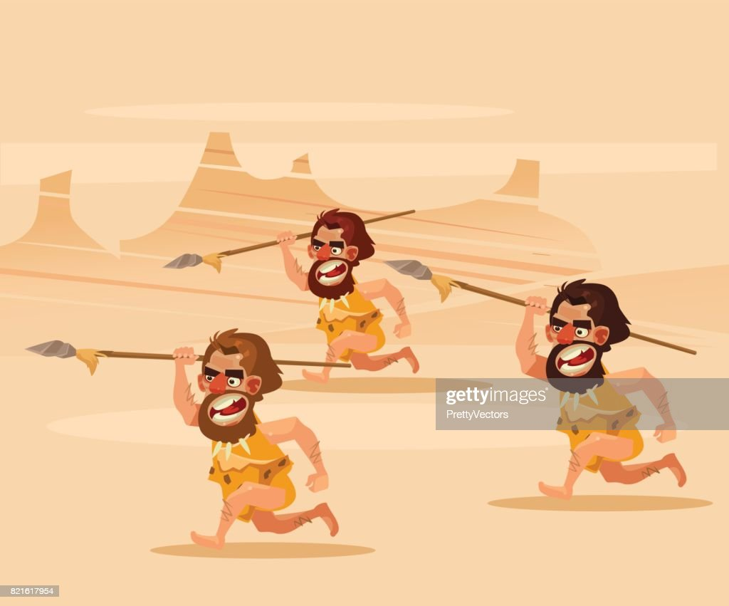 Angry hungry primitive cavemen character chasing running hunting