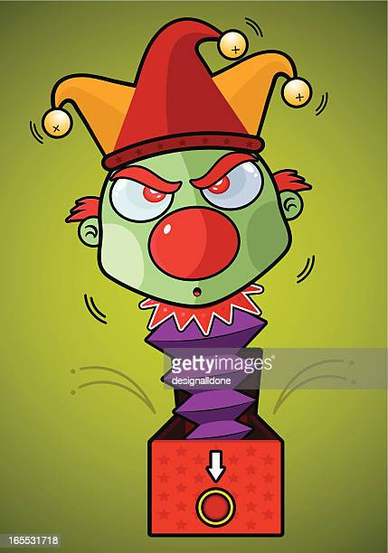 angry jack-in-the-box - jester's hat stock illustrations, clip art, cartoons, & icons