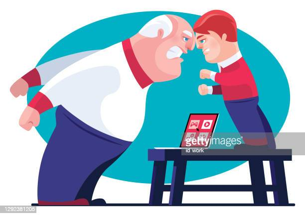 angry kid and grandfather conflicting of using laptop - family fighting cartoon stock illustrations
