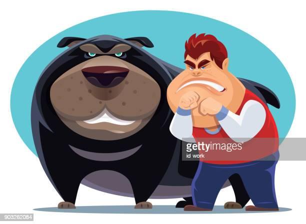 ilustraciones, imágenes clip art, dibujos animados e iconos de stock de angry kid con perro grande - bullying