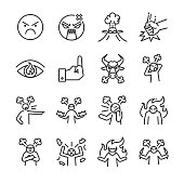 Angry line icon set. Included the icons as mad, moody, crazy, devil, blame, upset and more.