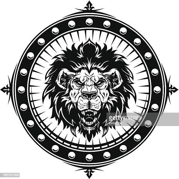 ilustrações, clipart, desenhos animados e ícones de angry emblema leão - animal mane