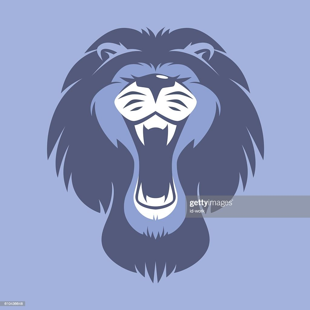 angry lion roaring