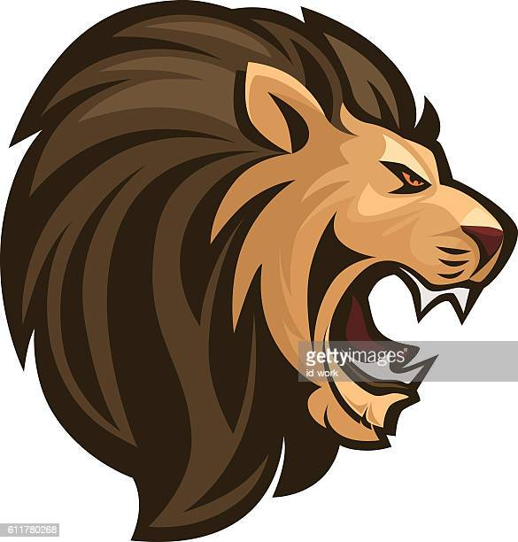 angry lion roaring - roaring stock illustrations
