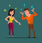 Angry man and woman characters quarreling