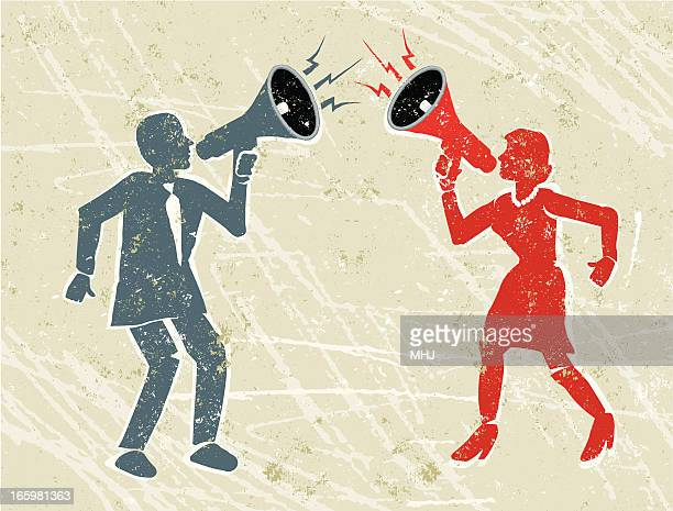 angry man and woman shouting at each other through megaphones - battle of the sexes concept stock illustrations