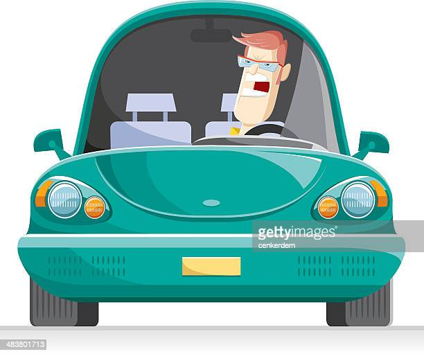 angry man at the traffic - vehicle hood stock illustrations, clip art, cartoons, & icons
