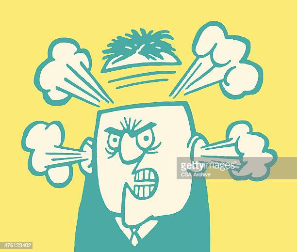 angry man blowing his top - steam stock illustrations