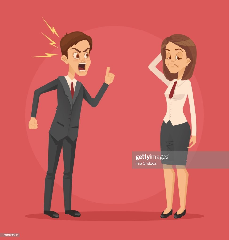 Angry man boss character yelling at employee woman office worker