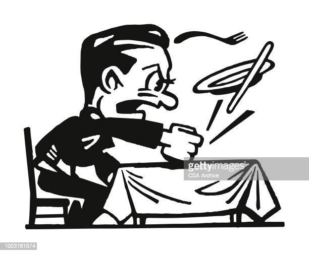 illustrations, cliparts, dessins animés et icônes de homme en colère, battre à coups de poing sur la table du dîner - impatient