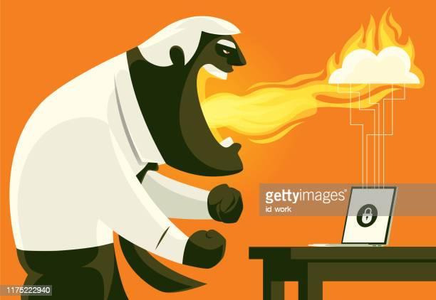 ilustrações de stock, clip art, desenhos animados e ícones de angry man with locked laptop - cyberbullying