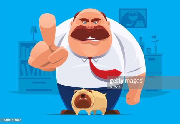 angry middle age man with dog pointing and blaming