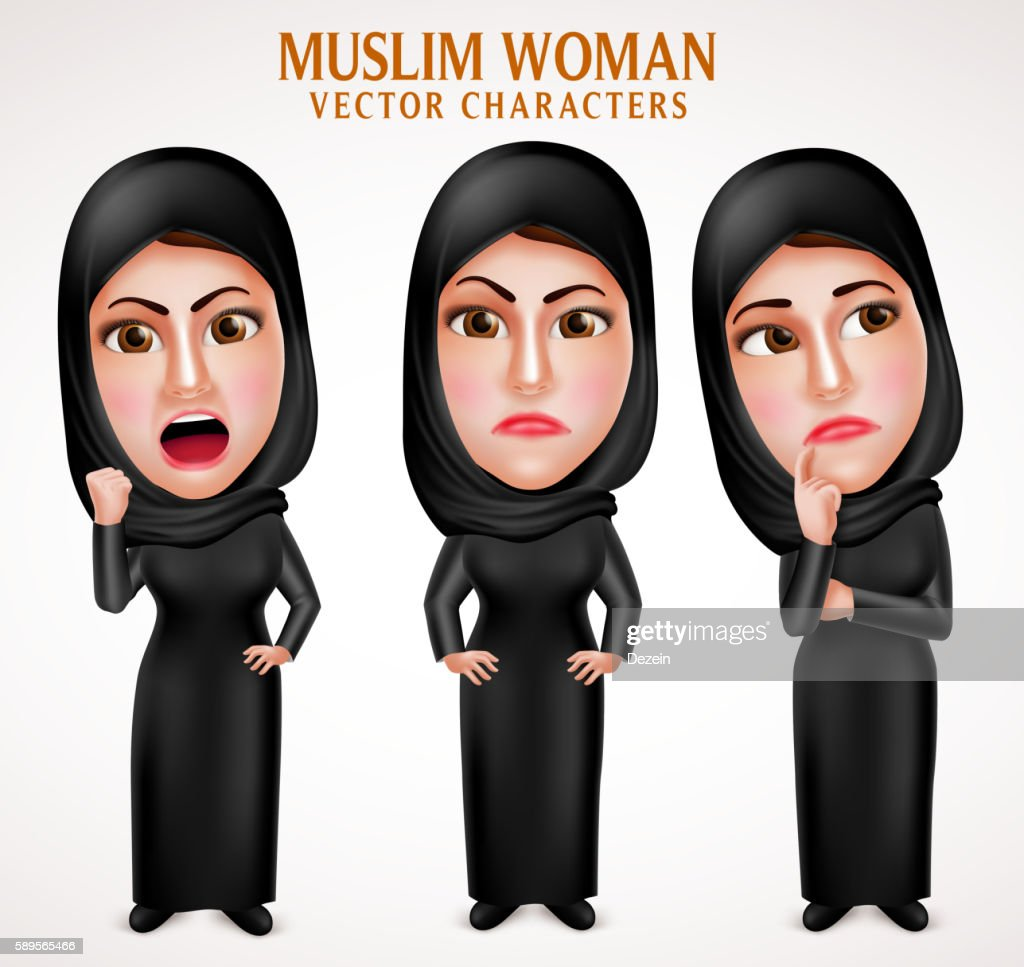 Angry muslim arab woman vector characters with facial expressions