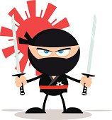 Angry Ninja Holding Two Katanas With Background Pattern