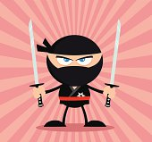 Angry Ninja Holding Two Katanas With Background