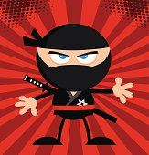 Angry Ninja With Background Pattern